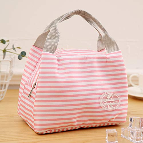 Euone Clearance Sales, Insulated Cold Canvas Stripe Picnic Carry Case Thermal Portable Lunch Bag (Pink)