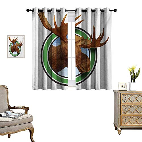 (WinfreyDecor Moose Thermal Insulating Blackout Curtain Deer Head Inside The Forest Sign of Northern Fauna from Wilderness Nature Graphic Patterned Drape for Glass Door W63 x L63 Brown)