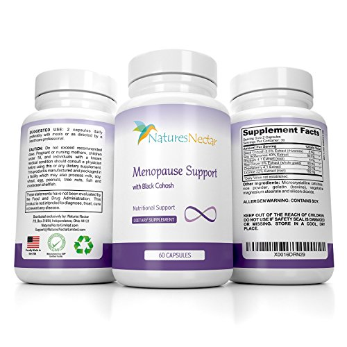 Menopause Relief Supplement With Black Cohosh - Designed For Maximum Hormone Balance Against Hot Flashes - Improves Mood + Weight Management + Night Sweats Relief - Estrogen Menapause by Nature's Nectar