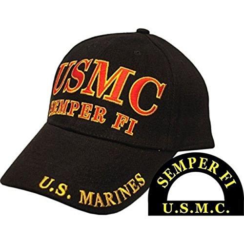 Infinity Superstore MWS USMC Semper Fi U.S. Marines Black Red Lettering Cap Hat 407D