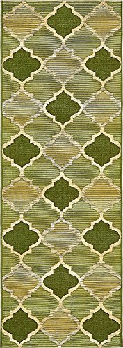 A2Z Rug Indoor/Outdoor Green 2' x 6' - Feet Marbella Collection Area rugs - Perfect for Outdoor Area's & (Hunter Traditional Rug)