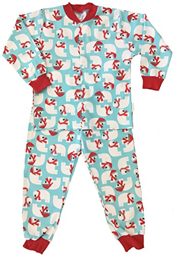 Snoozers 100% Cotton Flannel Holiday Polar Print Pajama Set (4) (Hockey Pjs For Boys)
