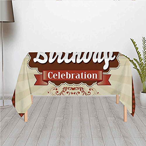 100th Birthday Decorations Waterproof Satin Tablecloth,Chocolate Wrap Like Brown Party Invitation Hundred Years for Wedding Party Banquet Restaurant Kitchen Dining Decoration,60.24''W x 42.13''H ()