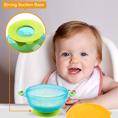 Zooawa Baby Bowls with Suction Base, 3-Pack Nonslip Spill Proof Feeding Training Bowl Dinnerware with Seal Easy Lid for Babies, BPA-Free, for Over 6 Months Infants, Colorful by Zooawa (Image #2)