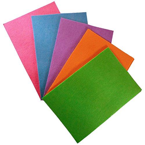 15 dünne Bastelfilz Filzplatten aus Polyester - Größe: ca. 20 x 30 cm, 0,5 mm dick - Bunt sortierte Mischung