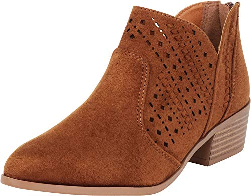 Chestnut Bootie - Cambridge Select Women's Pointed Toe Western Woven Laser Cutout Chunky Stacked Heel Ankle Bootie,7.5 B(M) US,Chestnut IMSU