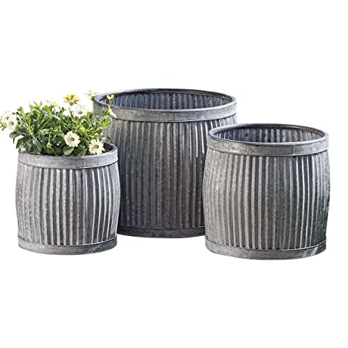 (WHW Whole House Worlds French Country Style Belly Bucket Planters, Set of 3, Galvanized Metal, Corrugated Cache Pots, Rustic Wash Basin, from Over 1 Ft Diameter (17-12 Inches))