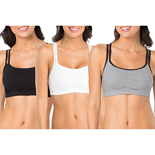 Fruit of the Loom Women's Cotton Pullover Sport Bra (Pack of 3), Grey Black/White/Black, 34 - Bra Tag