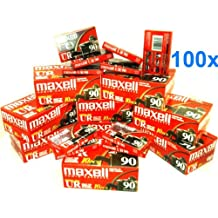 Maxell UR90/100 90-Minute Blank Audiocassette Tape, Normal Bias (Master case of 100)