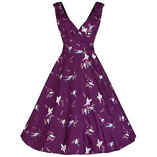 Pretty Kitty Fashion Pflaumen-lila Vogel-Druck Baumwolle 50s Swing-Kleid