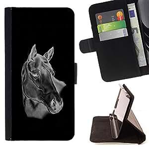 - Black & White Horse - - Prima caja de la PU billetera de cuero con ranuras para tarjetas, efectivo desmontable correa para l Funny HouseFOR Samsung Galaxy S5 Mini, SM-G800