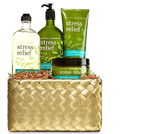(Bath and Body Works Aromatherapy Eucalyptus Spearmint Gold Woven Basket Gift Kit)