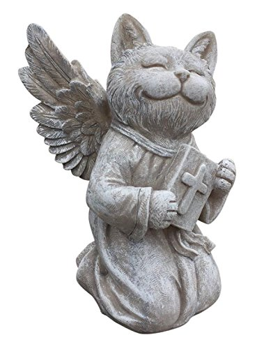 Cat Angel Memorial Statue – Garden Marker - Praying Cat Angel - Devotional Pet Remembrance Stone - for Indoor or Outdoor Use - from Clovers Garden