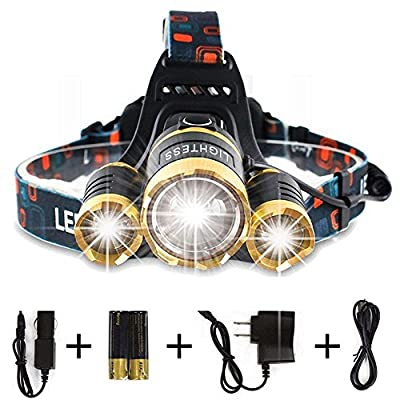 Lightess Headlamp LED 6000 Lumen Bright Headlight Rechargeable Outdoor Waterproof Headlamps Zoomable Flashlight Hand-free Torch