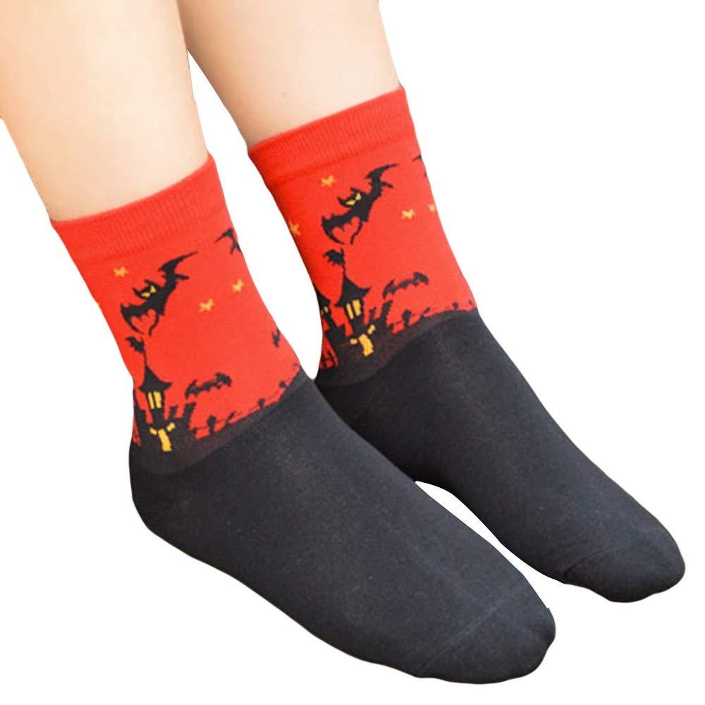 Novelty Crazy Alien Warm Crew Socks Funny Halloween Bat Printing Lantern Cotton Non Slip Socks (Red)
