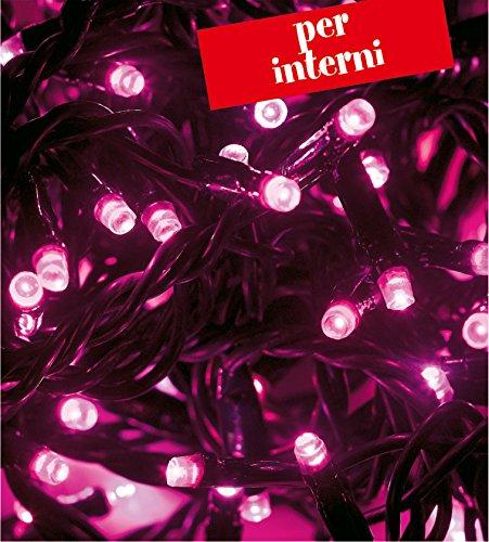 CATENA LUMINOSA MINILUCCIOLA 320 LED PINK(ROSA) CON CONTROLLER GIOCHI LUCE 19,2MT. 230V USO INTERNO