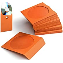 Flexzion 100 Pack CD DVD Thick Paper Sleeves Standard Envelope Cases Display Storage Premium with Window Cut Out and Flap for Music Movie Video Game Disc (Orange)