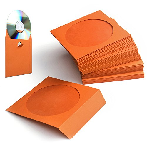 (Flexzion 100 Pack CD DVD Thick Paper Sleeves Standard Envelope Cases Display Storage Premium with Window Cut Out and Flap for Music Movie Video Game Disc (Orange))