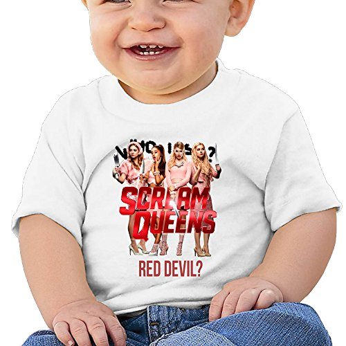 Price comparison product image Boss-Seller Scream Queens Short Sleeve T Shirts For 6-24 Months Boys & Girls Size 12 Months White