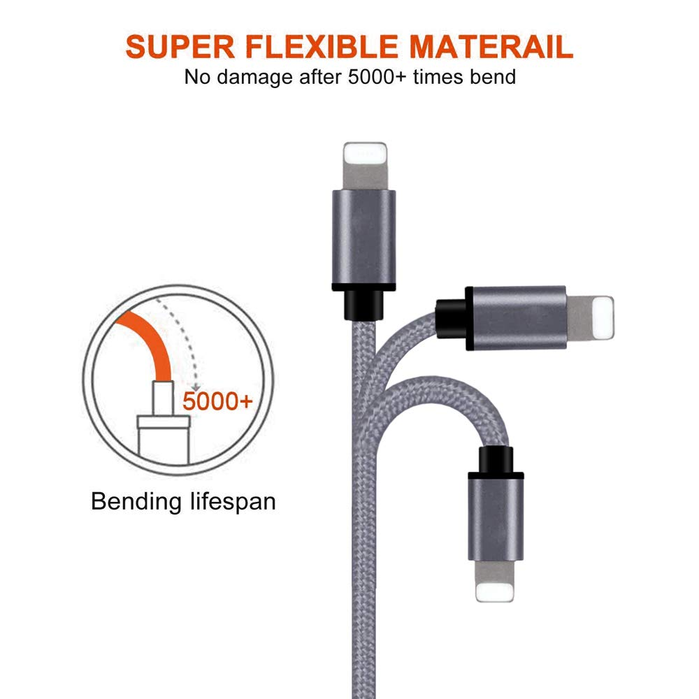 Nylon Braided USB Charging /& Syncing Cord Compatible with iPhone Xs//Max//XR//X//8//8Plus//7//7 Plus//6S//6S Plus//iPad Gray iPhone Cable Charger,MFi Certified Lightning Cable 5 Pack 3 FT