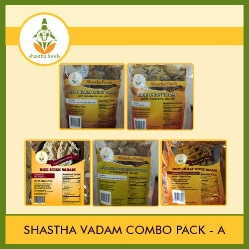 Shastha Vadam Combo Pack A (Contains 5 Pkts) Shastha (Vazhathandu, Rice Onion, Chilly Onion, Rice Stick & Chilly Stick) Vadam Each Pkt 200g T-B