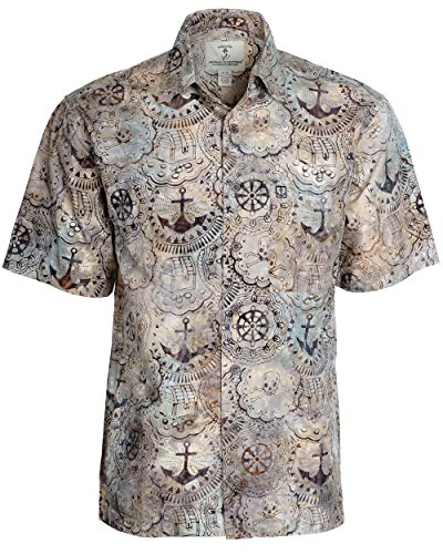 Artisan Outfitters Mens Carribean Pirates Cotton Batik Shirt (L, Taupe) A0214-58-L (Pirate Apparel)