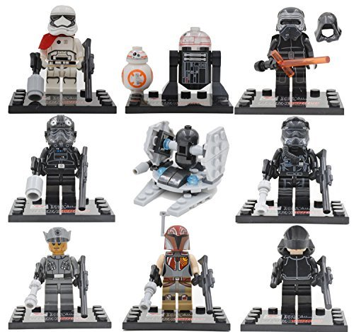 Star-Wars-El-Despertar-de-la-Fuerza-Captain-Phasma-R2-D2-First-Order-Stormtrooper-Kylo-Ren-TIE-Fighter-Pilots-First-Order-Officer-and-a-First-Order-Crew-Juegos-de-construccin-8-pieza
