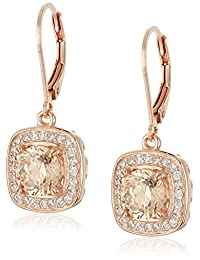 Rose Gold Plated Sterling Silver Round Champagne Cubic Zirconia 7mm and White Cubic Zirconia Lever Back Stud Earrings