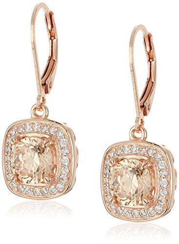 14k Rose Gold Plated Sterling Silver Champagne Cubic Zirconia and White Cubic Zirconia Halo Leverback Earrings