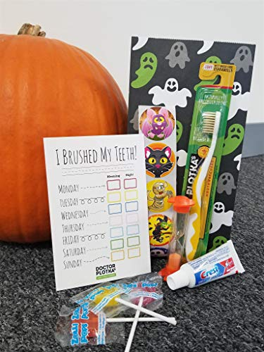 Doctor Plotka's Mouthwatchers Antimicrobial Floss Bristle Toothbrush Kids Halloween Goodie Bag, Yellow Youth Toothbrush, Mini Toothpaste, Timer, Check Card, Stickers, Lollipops