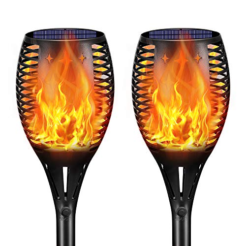 Halloween Driveway Lights (Landscape Solar Torch Lights,YULAMP Waterproof Flickering Flames Torches Lights Outdoor Solar Flame Light Decoration Lighting Dusk to Dawn Auto On/Off Security Torch Light for Deck Yard Driveway)