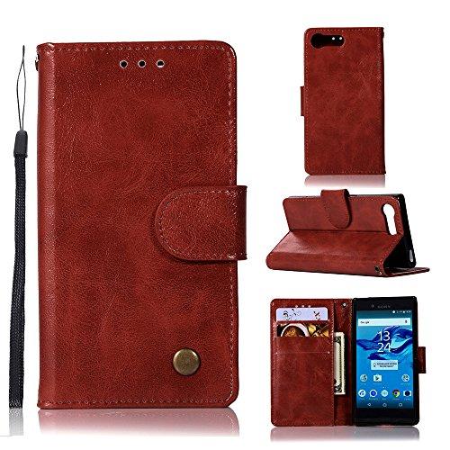 Funda Sony Xperia X Compact [Happon] Ranuras para Tarjetas y Billetera Carcasa PU Libro de Cuero Flip Leather Cierre Magnético Soporte Plegable para Sony Xperia X Compact (Marrón) Vino Rojo