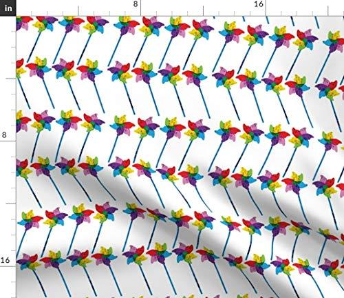 (rainbow pinwheel Fabric - Pinwheels Rainbow Yard Ornament Spin Twirl Toy Pinwheel Child Circus Rainbow Toy Yard Ornament by Els Vlieger Printed on Petal Signature Cotton Fabric by the Yard)