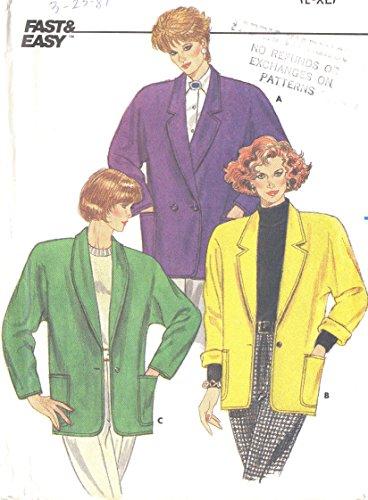 Butterick vintage 1980s sewing pattern 3981 dolman jackets - Size L-XL
