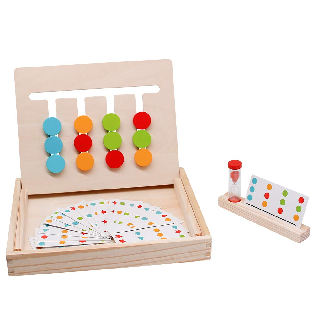 Montessori Toys Logic Games Slide Puzzle Board Matching Maze Wooden Preschool Learning Early Education Shape Color Sorting Recognition Gift