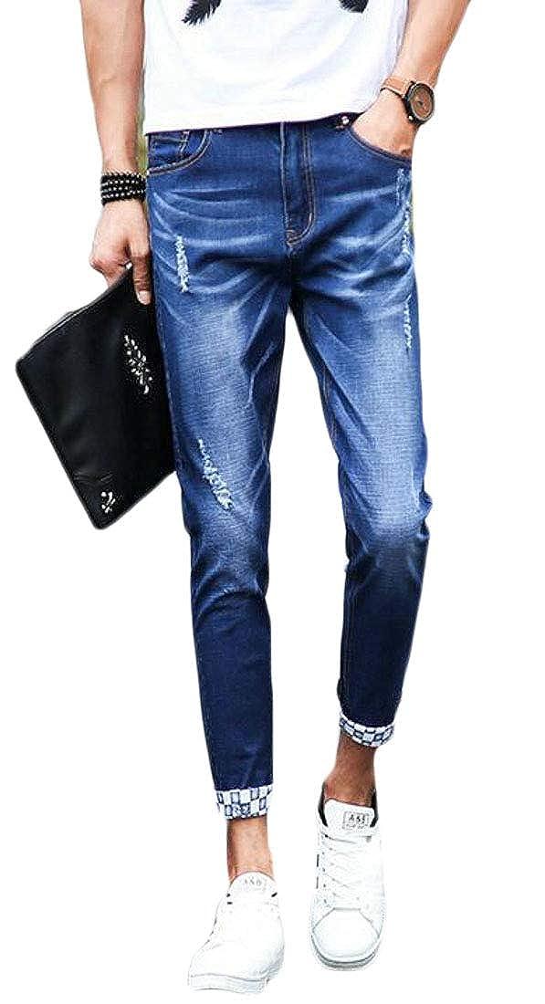 KLJR Men Stretchy Washed Slim Fit Slim-Tapered Distressed Jeans Denim Pants