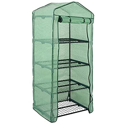 """4 Tier Mini Greenhouse with PE Cover and Roll-Up Zipper Door, Waterproof Cloche Portable Greenhouse Tent-27.25"""" L X 19"""" W x 63"""" H, Grow Seeds & Seedlings, Tend Potted Plants (4 Tier)"""
