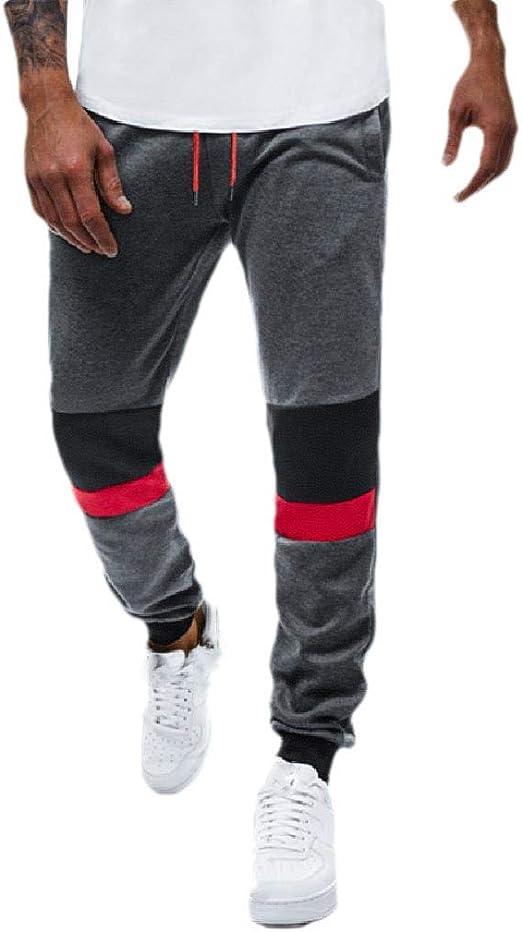 YAXINHE メンズドローストリングステッチアスレチックリラックスジョギングパンツポケット付き