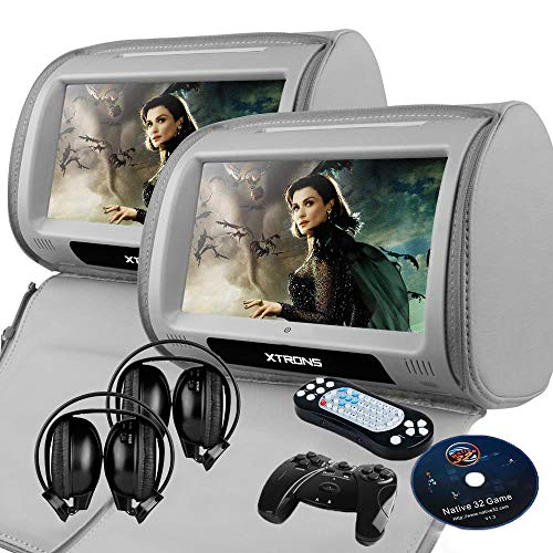 "XTRONS Grey 2X Twin Car headrest DVD Player 9"" HD Touch Screen with FM Game Disc Mp3 IR Headphones"