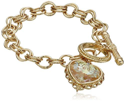 1928 Jewelry Gold-Tone Pendant Made with A Heart-Shaped Swarovski Crystal Pendant (Best 1928 Jewelry Charm Bracelets)