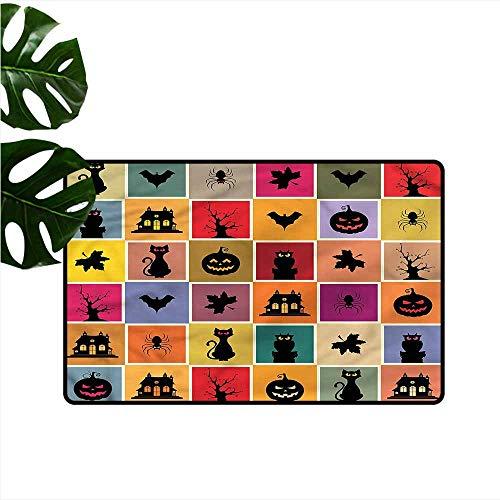 DONEECKL Non-Slip Door mat Vintage Halloween Bats Cats Owls with Anti-Slip Support W35 xL47 -