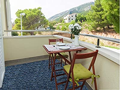 Koeckritz Cobalt - Indoor/Outdoor Area Rug Carpet, Runners, Stair Treads with Premium Nylon Fabric Finished Edges.