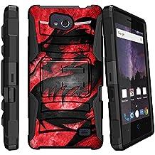 Hybrid Bumper Case for [ZTE Majesty Pro, ZTE Majesty Pro Plus 2017, Z899VL, Z798BL, Z799VL] [Clip Armor] Rugged Hard Shell Case with Kickstand and Holster - Red Dragon