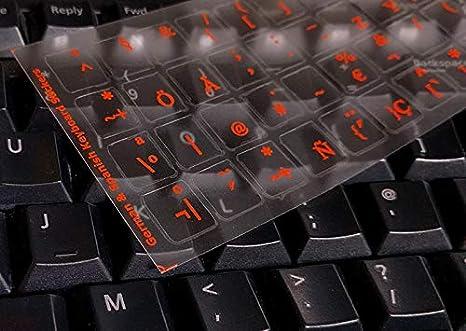 Pegatinas con Teclado en español/alemán para Mac, computadora de Escritorio, computadora portátil, Macbook (calcomanías de Teclado con Letras Rojas)