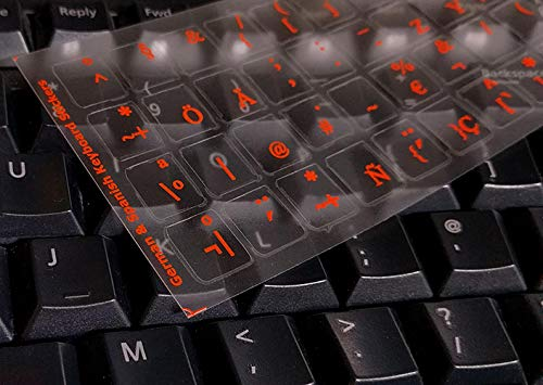 GERMAN  KEYBOARD STICKERS FOR COMPUTER LAPTOP TRANSPARENT RED LETTERS NEW