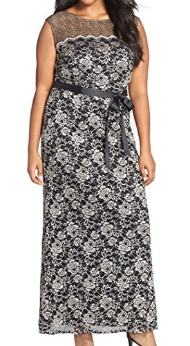 Alex Evenings Women's Plus-Size Sleeveless Lace Printed Gown with Tie, Black/Champagne, 18W