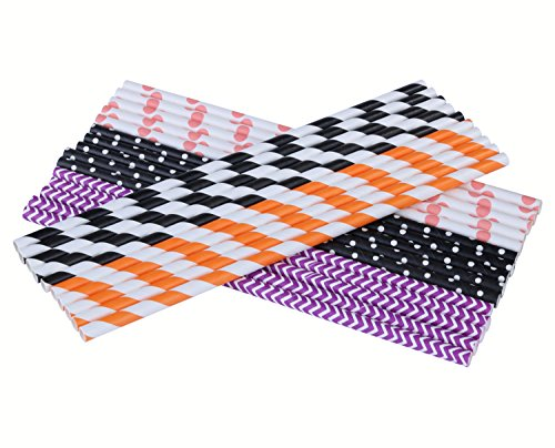 Paper Straws,Coxeer 25 Count Biodegradable Paper Straws Different Colors Dot Stripe Paper Drinking Straws - Bulk Paper Straws for Juices, Shakes, Smoothies, Halloween&Christmas Party Supplies (Paper Halloween Stripe)