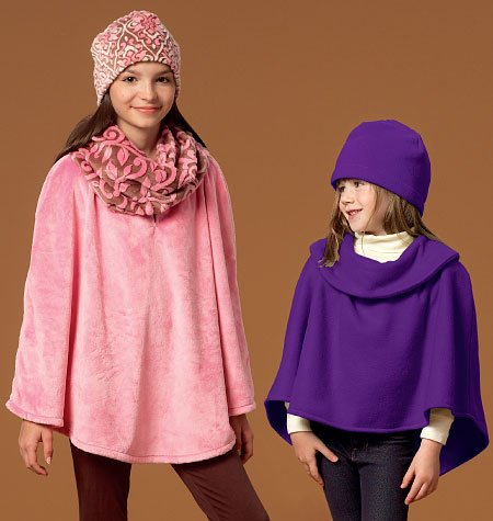 MCCALLS M7012 GIRLS' PONCHOS, HAT & SCARF (LEARN TO SEW) SIZE MED-X-LARGE) SEWING PATTERN ()