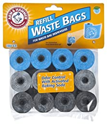 Arm & Hammer 71040 Disposable Waste Bag Refills, Assorted, 180-Pack