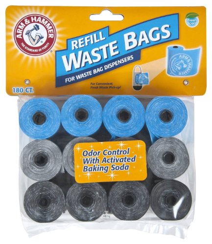 Petmate Arm & Hammer 71040 Disposable Waste Bag Refills, Assorted, 180-Pack (Disposal Dog Waste Pet)